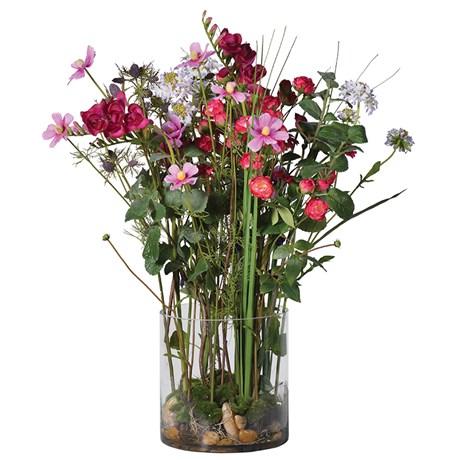 Mixed Garden Flowers Arrangement In Cylindrical Glass Vase Emma