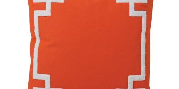 Greek Key Trim Orange Cushion