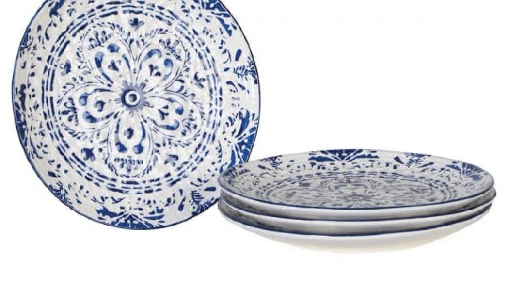 Set of 4 Large Patterned Plates