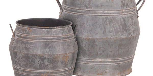 Set of 2 Large Metal Buckets