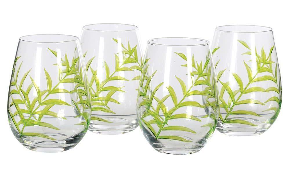 Set of 4 Etched Leaf Glasses