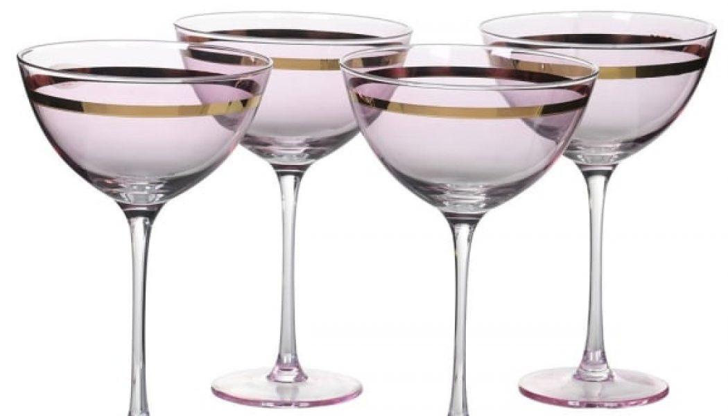 S/4 Pink W/gld Champ Glass