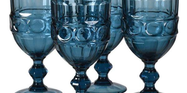Set of 4 Blue Wine Goblets