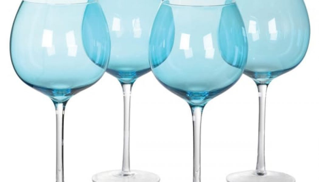 Set of 4 Large Blue Gin Glasses