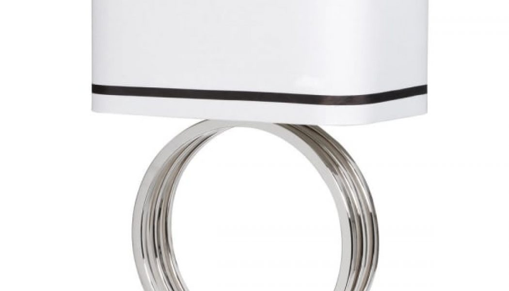 Ring Base Lamp with White Shade